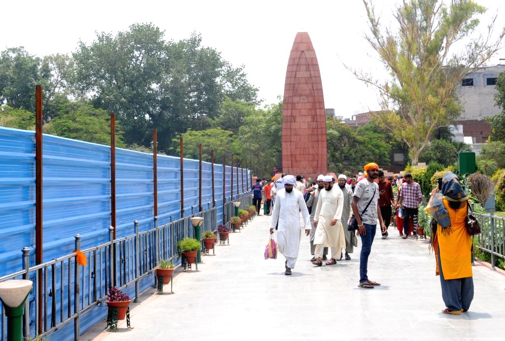 Amritsar: Restoration work underway at the Jallianwala Bagh in Amritsar, on June 26, 2019. The Centre's project to restore the historic composition and revamp allied services for visitors at the Jallianwala Bagh began here on Wednesday. Th
