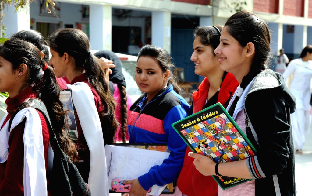 Students arrive to appear for their board exams (class XII , Punjab board) in Amritsar, on Feb 28, 2015.