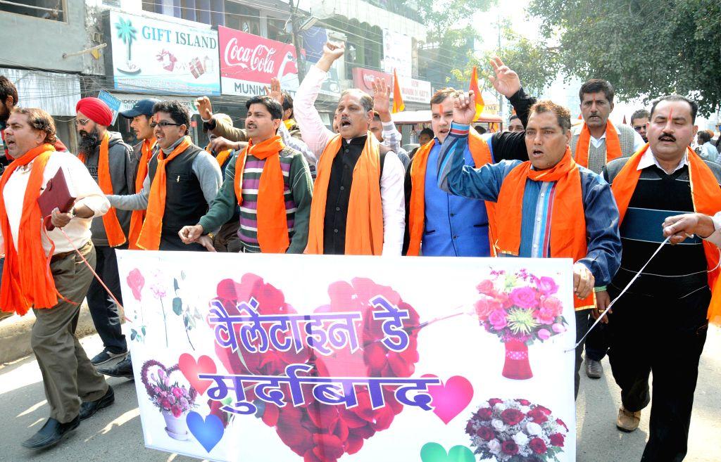 The activists of Shiv Sena (Samajwadi) stage a protest against Valentine`s Day celebrations in Amritsar on Feb 11, 2015.