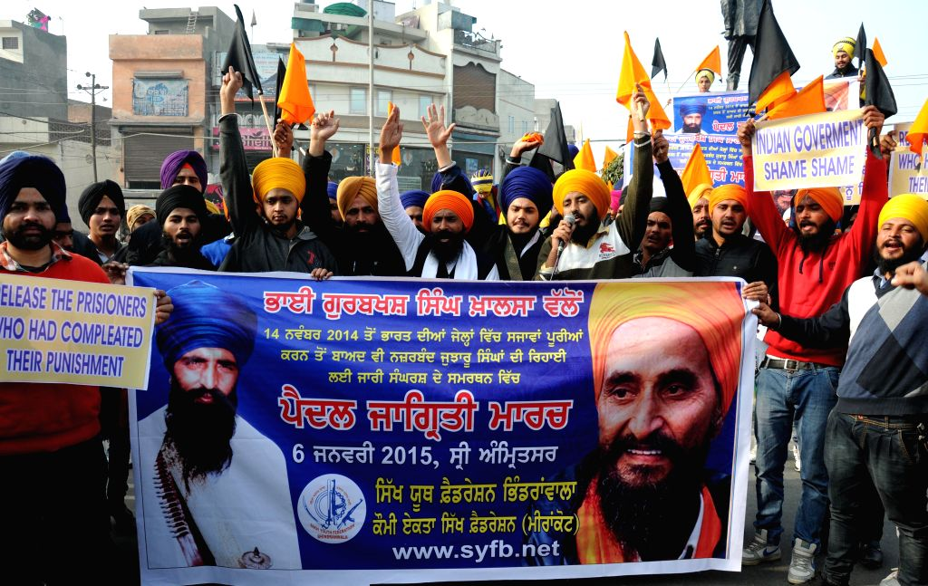 The activists of Sikh Youth Federation Bhindranwala participate in a rally to protest against the release of Sikhs prisoners who are lodged in different jails even after completion of their