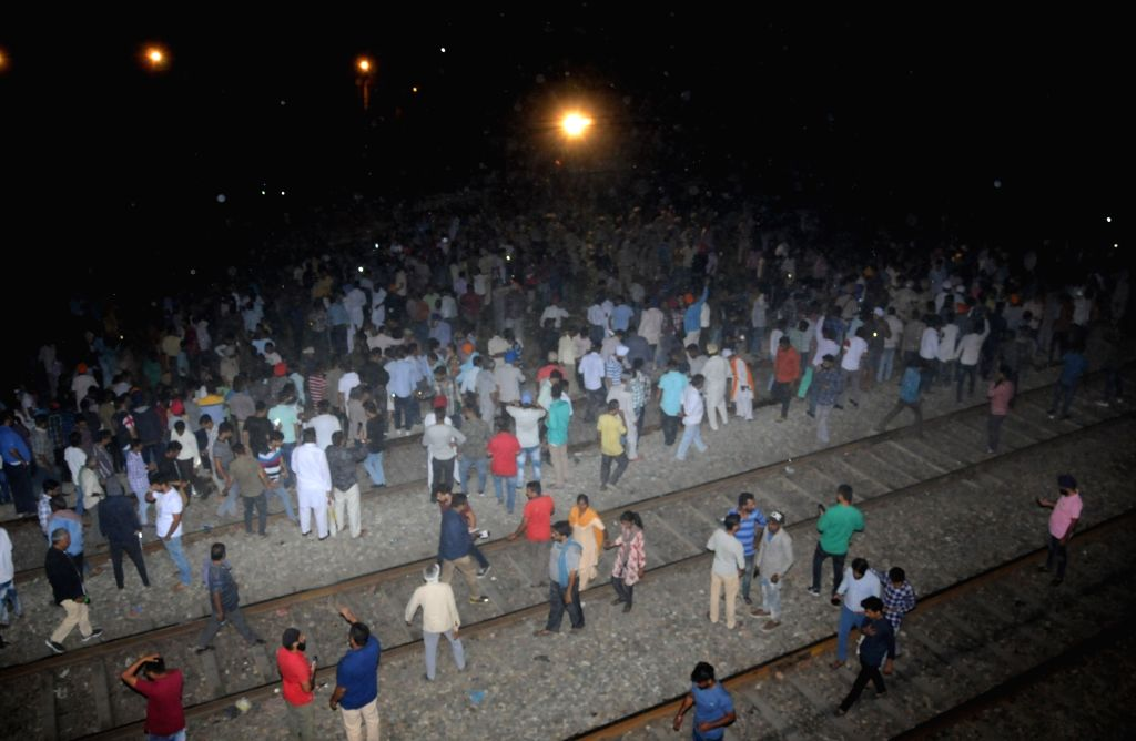 : Amritsar: The site where at least 30 people glued to watching a burning Ravan effigy while standing on railway tracks were crushed by a speeding train in Amritsar on Oct 19, 2018. (Photo: IANS).