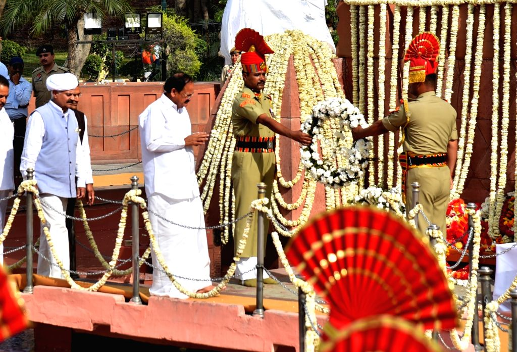 Amritsar: Vice President M. Venkaiah Naidu lays wreath on the martyrs of 1919 Jallianwala Bagh massacre on the 100th anniversary of the massacre, in Amritsar on April 13, 2019. (Photo: IANS) - M. Venkaiah Naidu