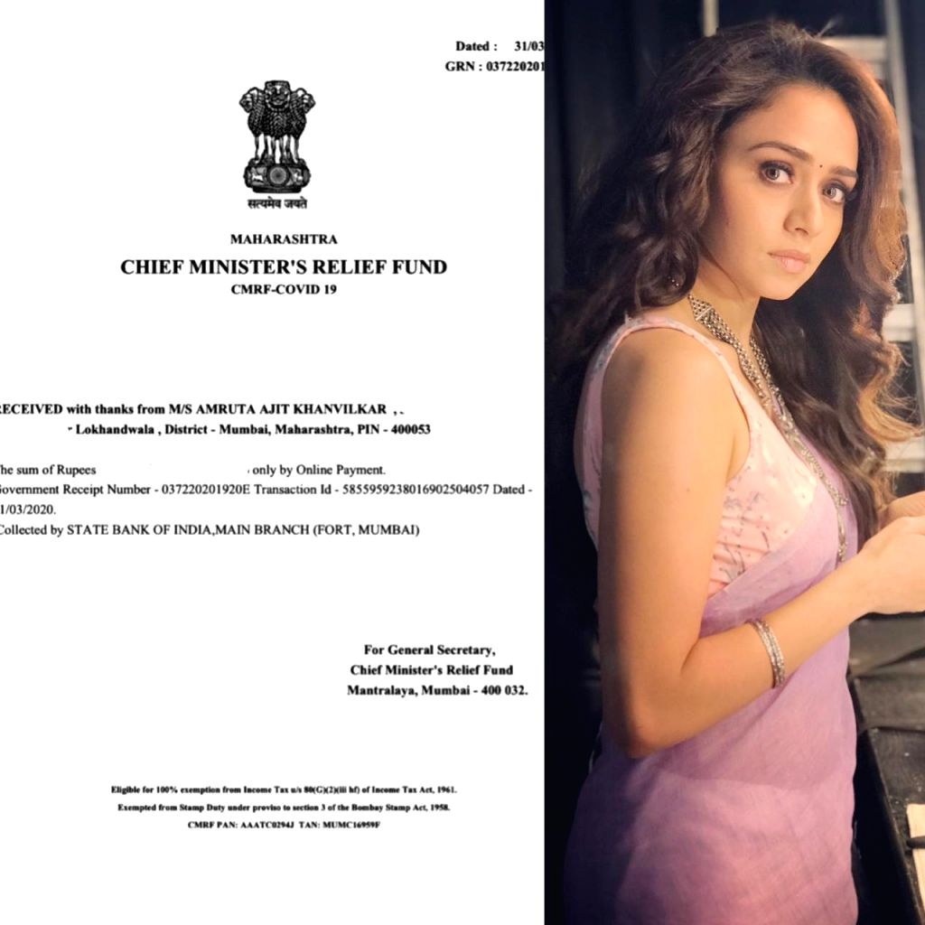 Amruta Khanvilkar donates to CM's relief fund to fight against coronavirus.