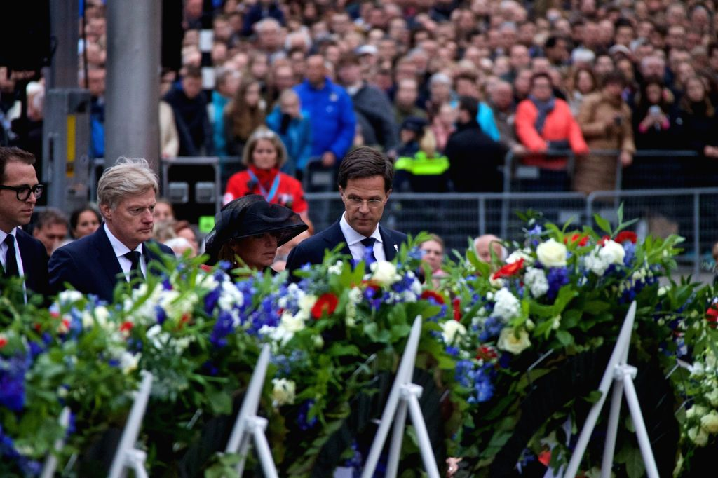 AMSTERDAM, May 4, 2017 - Dutch Prime Minister Mark Rutte (1st R, front) attends the ceremony to commemorate all civilians and members of the armed forces of the Kingdom of the Netherlands who have ... - Mark Rutte