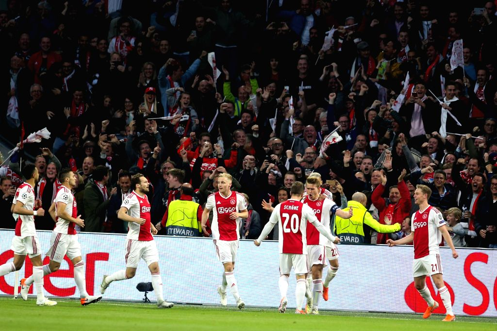 AMSTERDAM, May 9, 2019 - Ajax's players celebrate during the UEFA Champions League semifinal second leg soccer match between Ajax and Tottenham Hotspur in Amsterdam, the Netherlands, May 8, 2019. ...