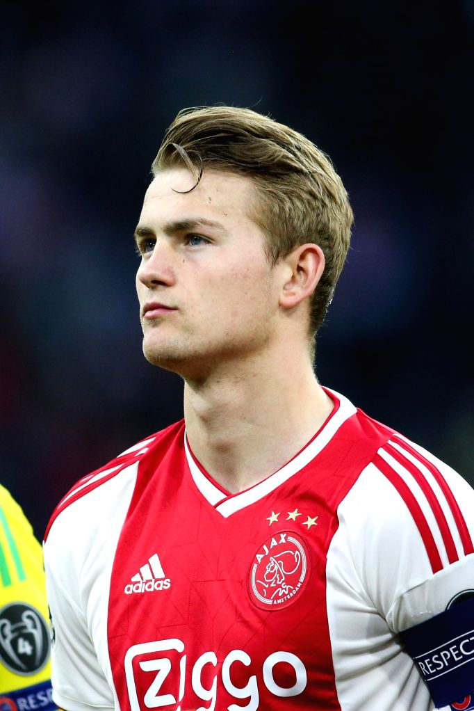 AMSTERDAM, May 9, 2019 (Xinhua) -- Ajax's Matthijs de Ligt pose before the UEFA Champions League semifinal second leg soccer match between Ajax and Tottenham Hotspur in Amsterdam, the Netherlands, May 8, 2019. Hotspur won 3-2 (3-3 on aggregate) and a