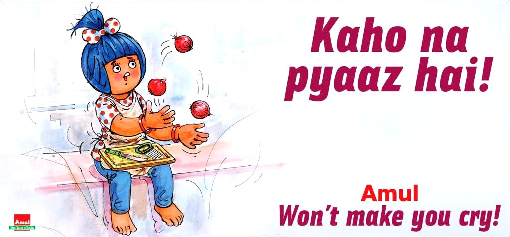 Amul cooperative dairy company's advertisements are known for creativity: This time too it has come up with a spoof on onion prices and the Twitter is clearly amused.The ad posted by the company on its official Twitter handle has the iconic mascot gi