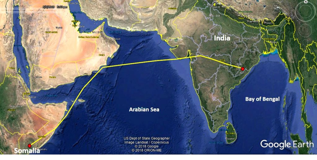 Amur falcon, Longleng started on its migration from Somalia to India on April 29. Upon leaving the African continent, it made a four-day, non-stop flight over the Arabian Sea, skirting the coastline of the Arabian peninsula and then flew along the co