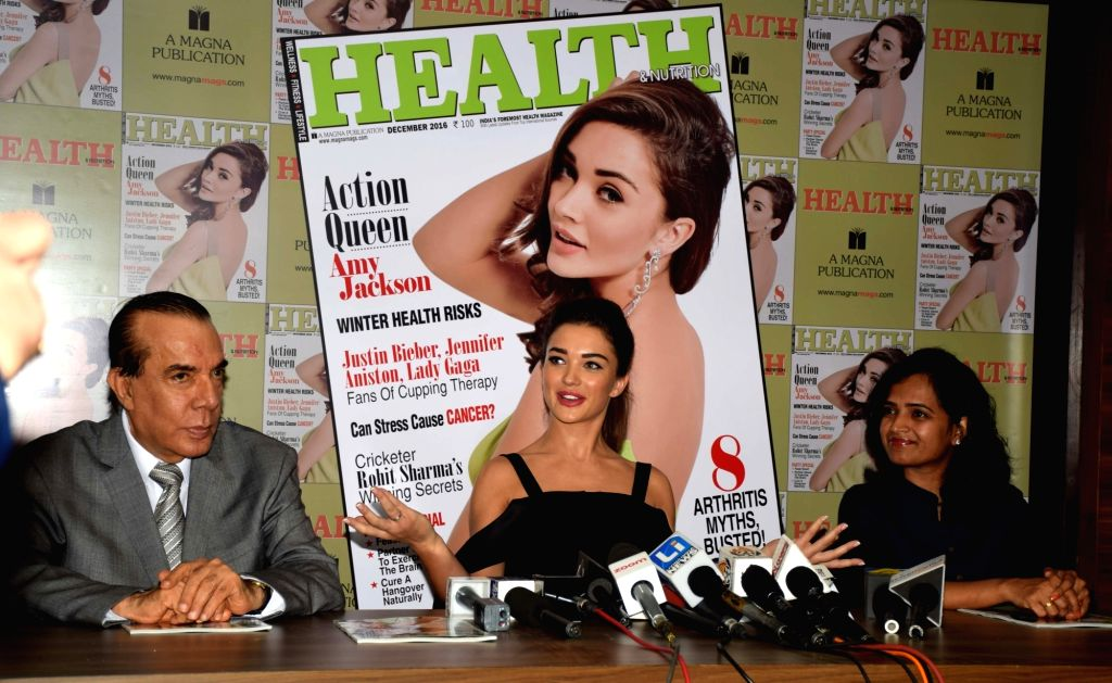 Amy Jackson during the Health & Nutrition magazine cover unveiling of the December 2016 issue of in Mumbai on Nov. 29, 2016.