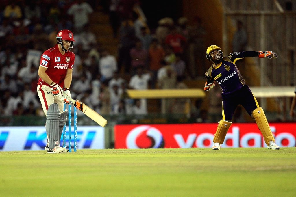 An action moment during an IPL match between Kings XI Punjab and Kolkata Knight Riders at Punjab Cricket Association IS Bindra Stadium in Mohali on April 19, 2016.