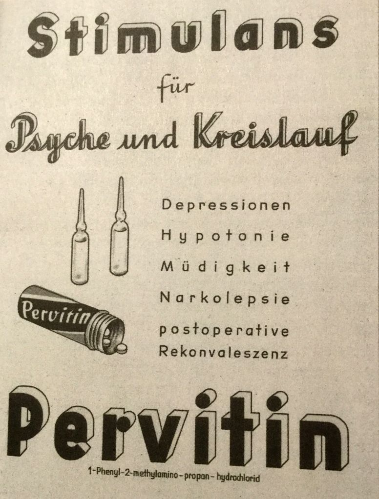 An advertisement for Pervitin in Nazi Germany noting how it could cure depression and help in convalescence after surgery
