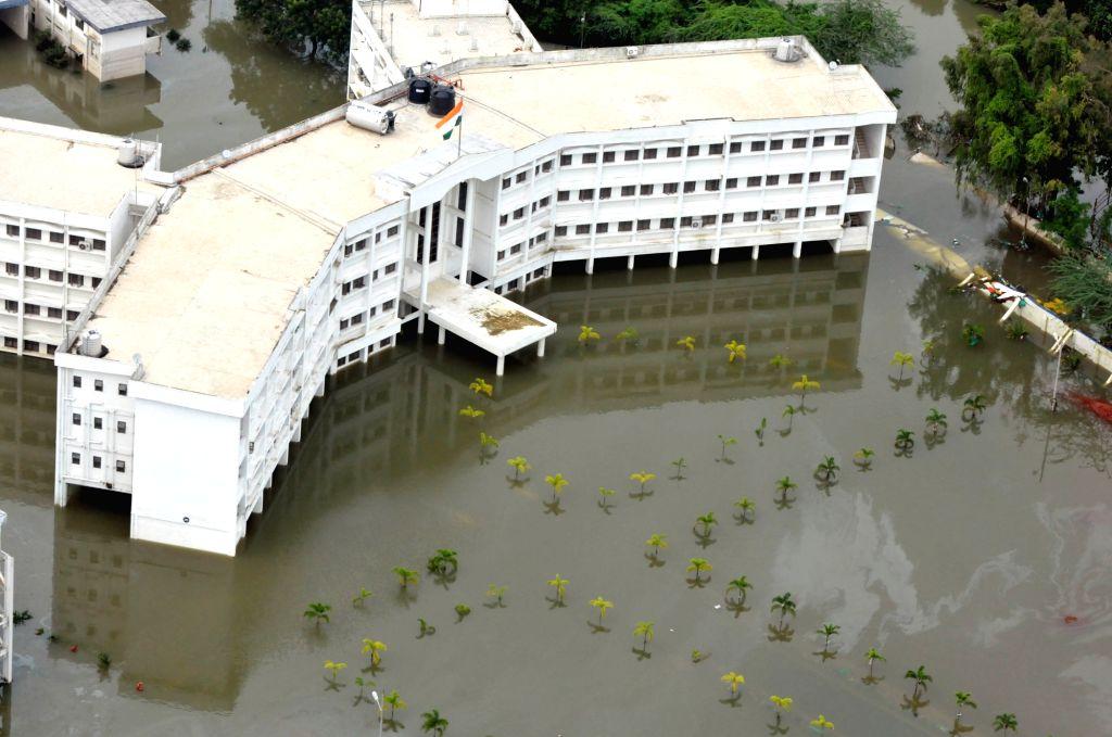 An aerial view of a rain hit area in Chennai on Dec 3, 2015.
