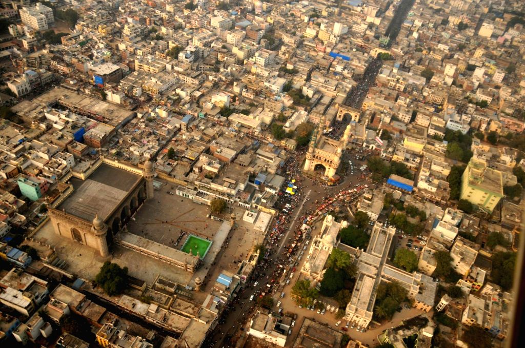 An aerial view of Charminar in Hyderabad on Jan 14, 2017.
