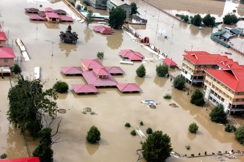 An aerial view of flood affected areas of Srinagar taken from an IAF helicopter, on September 09, 2014.