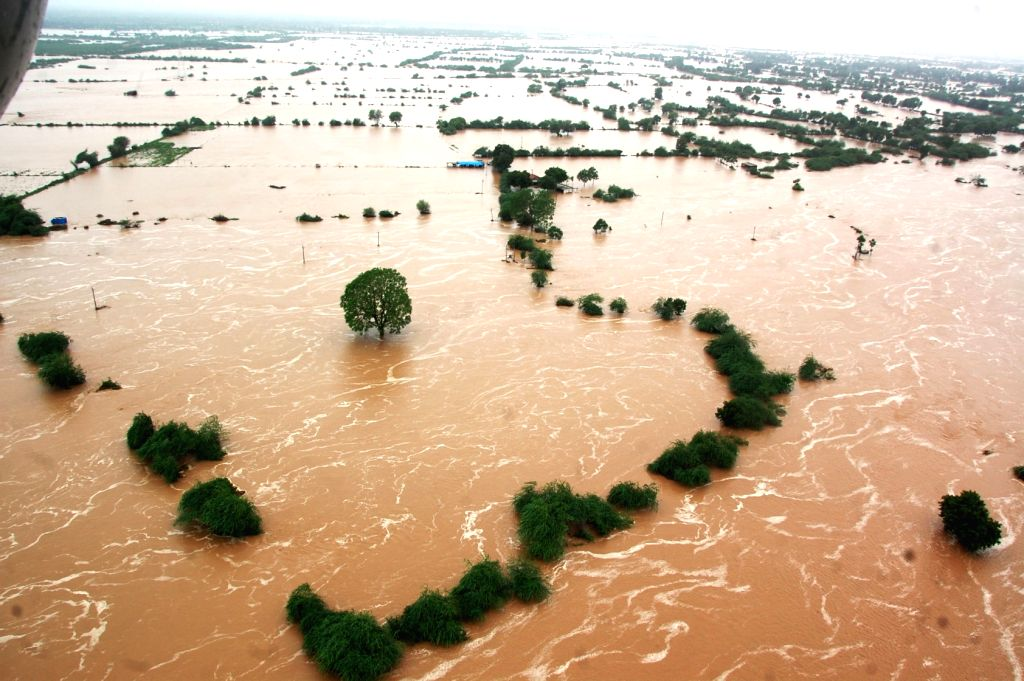 An aerial view of flood hit Banaskantha district of Gujarat on July 25, 2017.