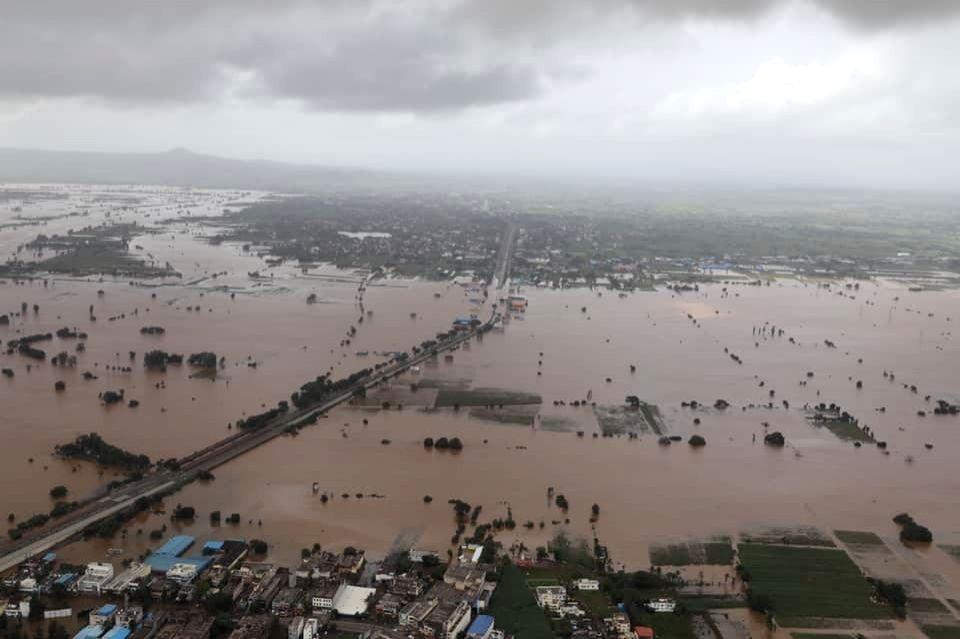 An aerial view of flood hit Belagavi in Karnataka on Aug 11, 2019.