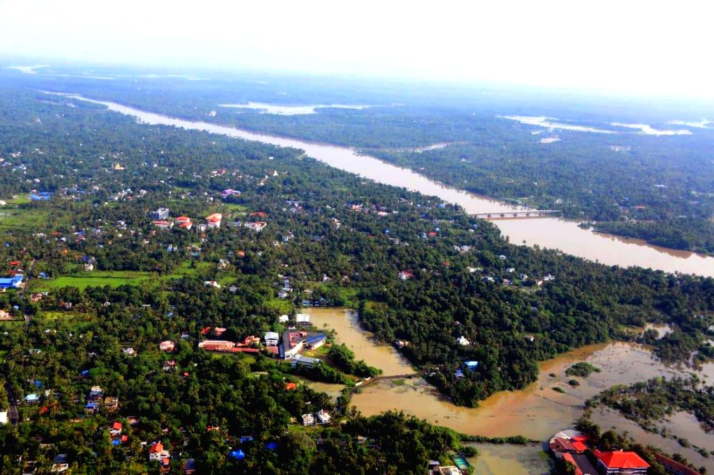 An aerial view of flood hit Kerala's Thrissur district on Aug 11, 2019.