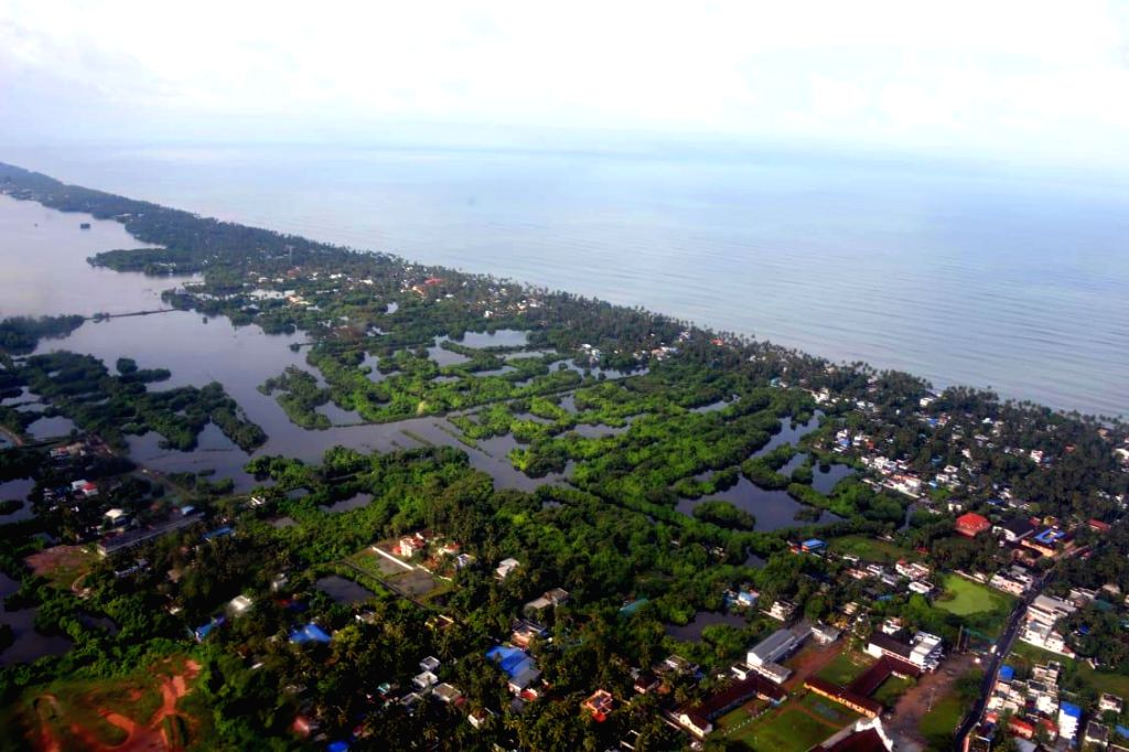 An aerial view of flood hit Kochi's north coastline, Kerala on Aug 11, 2019.