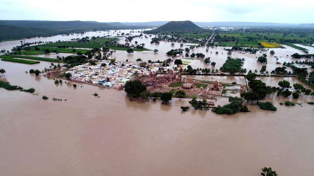 An aerial view of flood hit Pattadakal at Badami Taluk, in Karnataka's Bagalkot on Aug 11, 2019.