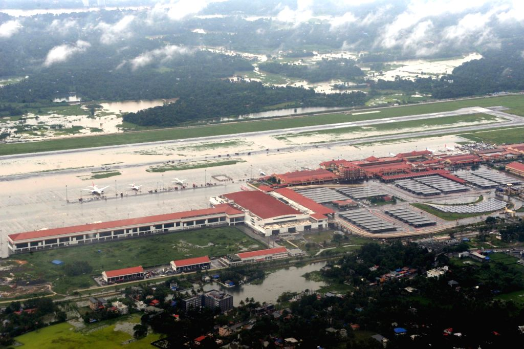 An aerial view of flooded Kochi Airport, Kerala on Aug 9, 2019.