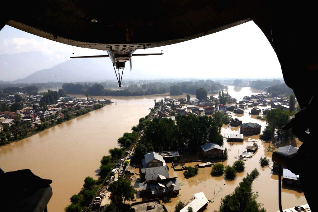 An aerial view of flooded Srinagar town in Jammu and Kashmir as seen from an IAF helicopter on Sept 11, 2014.