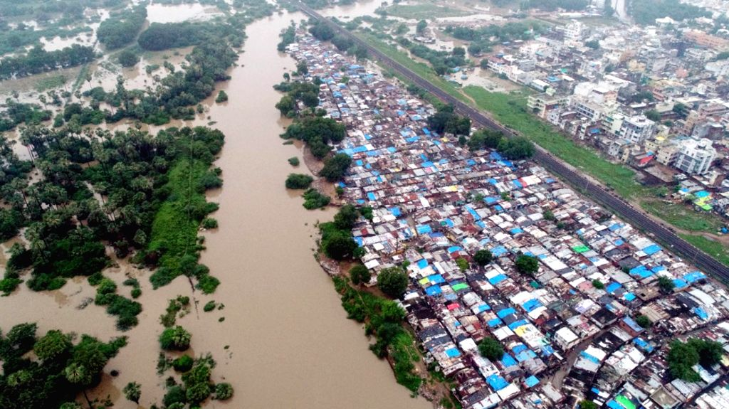 An aerial view of flooded Vadodara on Aug 2, 2019.