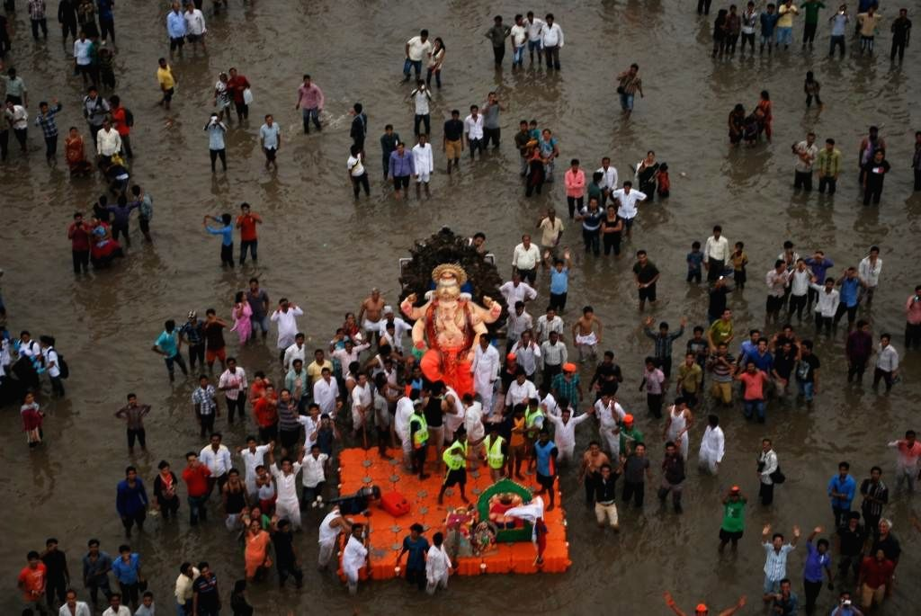 An aerial view of Ganapati immersions in Mumbai on Sept 8, 2014.