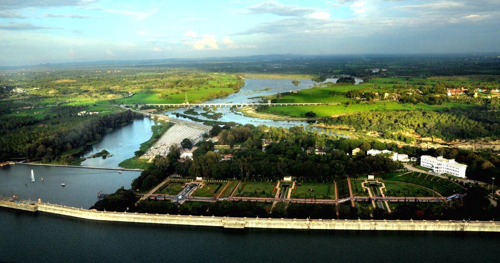 An aerial view of Krishna Raja Sagara reservoir and Brindavan Garden in Mandya district of Karnataka on Oct 4, 2017.