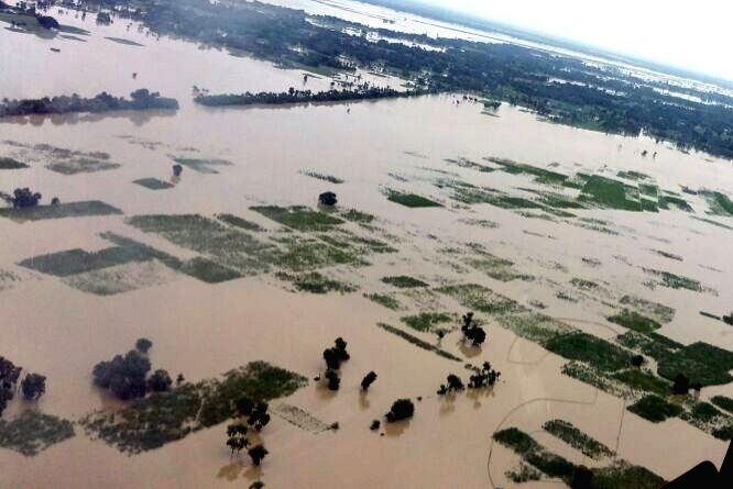 An aerial view of the flood affected areas in Bettiah district of Bihar on Aug 17, 2017.