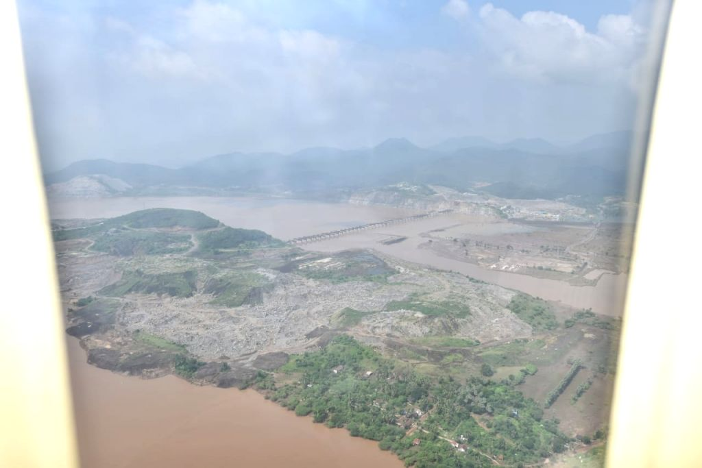 An aerial view of the site where a boat with over 60 tourists capsized  in Godavari river near Kuchuluru in East Godavari district of Andhra Pradesh, on Sep 16, 2019.
