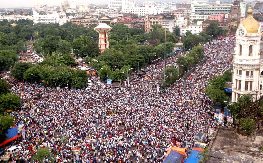 An aerial view of the Trinamool Congress (TMC) Shaheed Diwas rally in Kolkata on July 21, 2016.