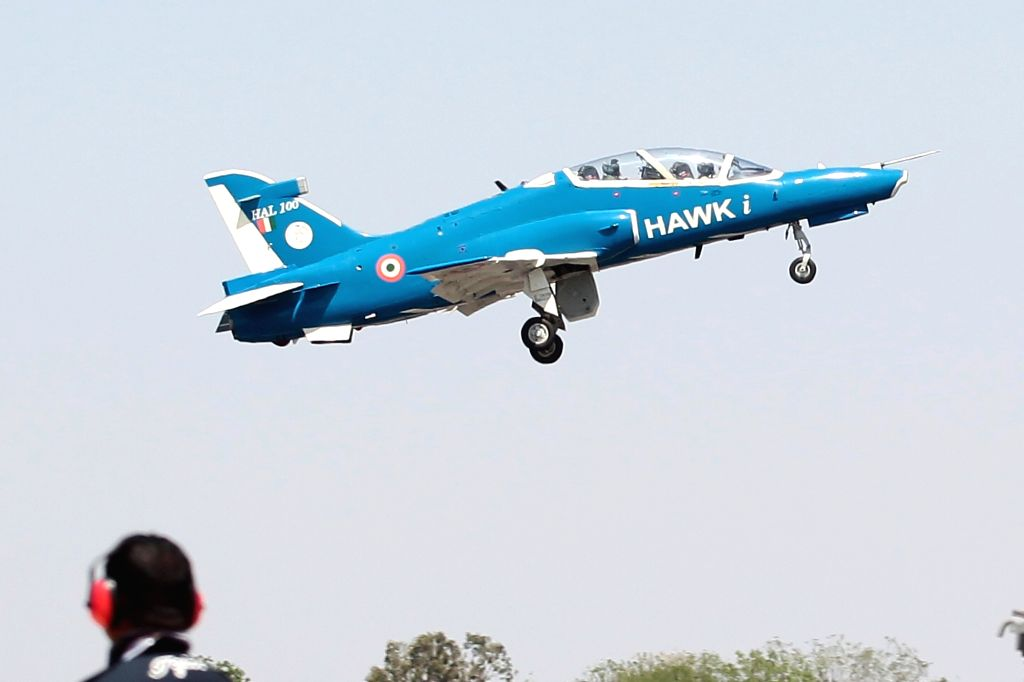 "An aircraft during ""Aero India 2019"" - air show at Yelahanka Air Force Station, in Bengaluru, on Feb 21, 2019."