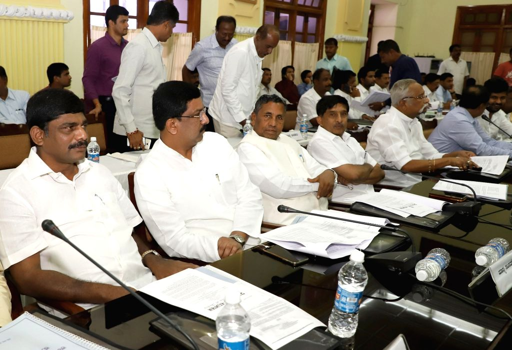 An all-party-meeting over the Cauvery water issue called by Karnataka Chief Minister H.D. Kumaraswamy underway at Vidhana Soudha, in Bengaluru on June 30, 2018. - H.
