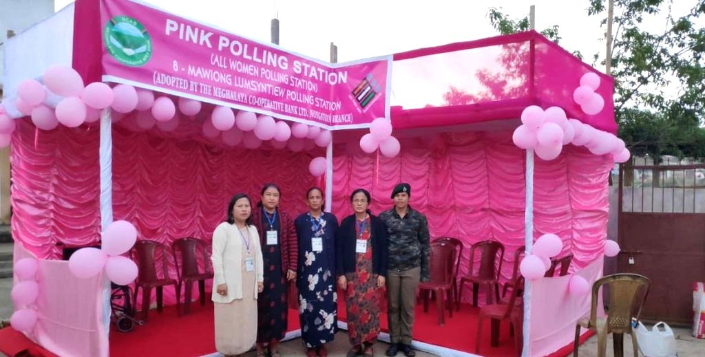 An 'All Women's' polling station set up during 2019 Lok Sabha elections, at Mawiong of East Khasi Hills district in Meghalaya.