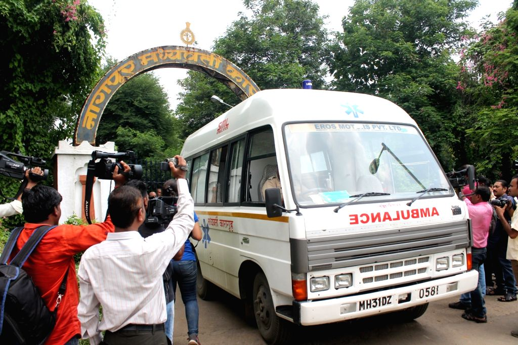 An ambulance waiting to take the body of Ayush Pugaliya, convicted in kidnapping and murder case of eight-year-old Kush Katariya, who was killed by a fellow inmate at Nagpur Central Jail in ...