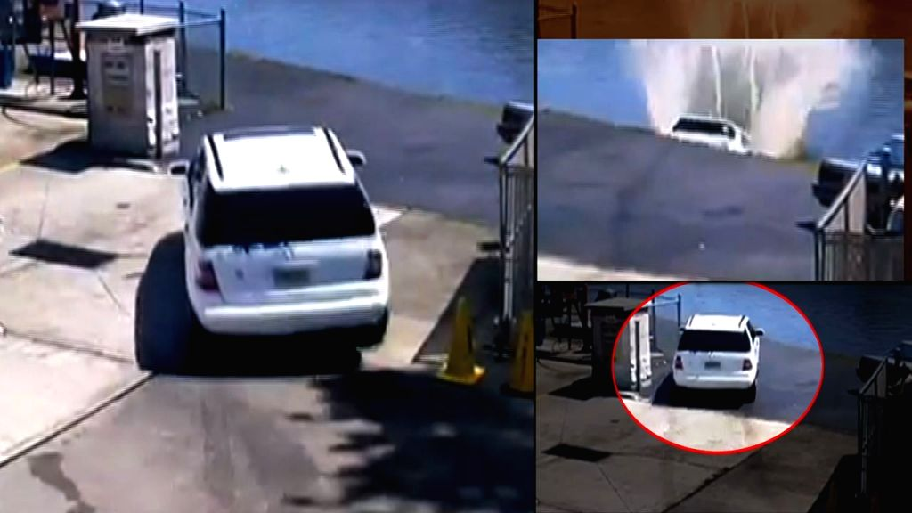 An American woman plunged her car into the Hackensack River in New Jersey after she hit the accelerator instead of the brakes.