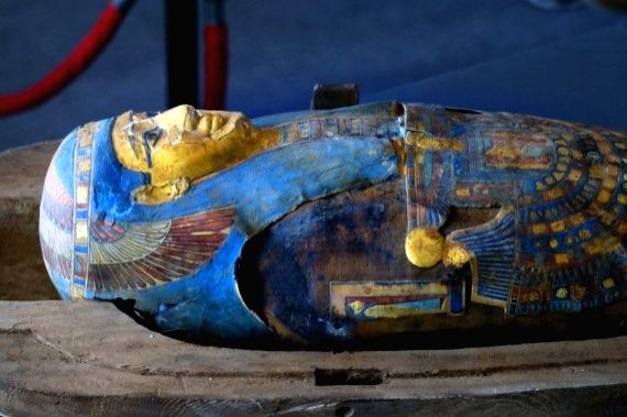 An ancient coffin is seen on the site of the discovery in Giza province, Egypt, on Nov. 14, 2020. (Xinhua/Ahmed Gomaa)