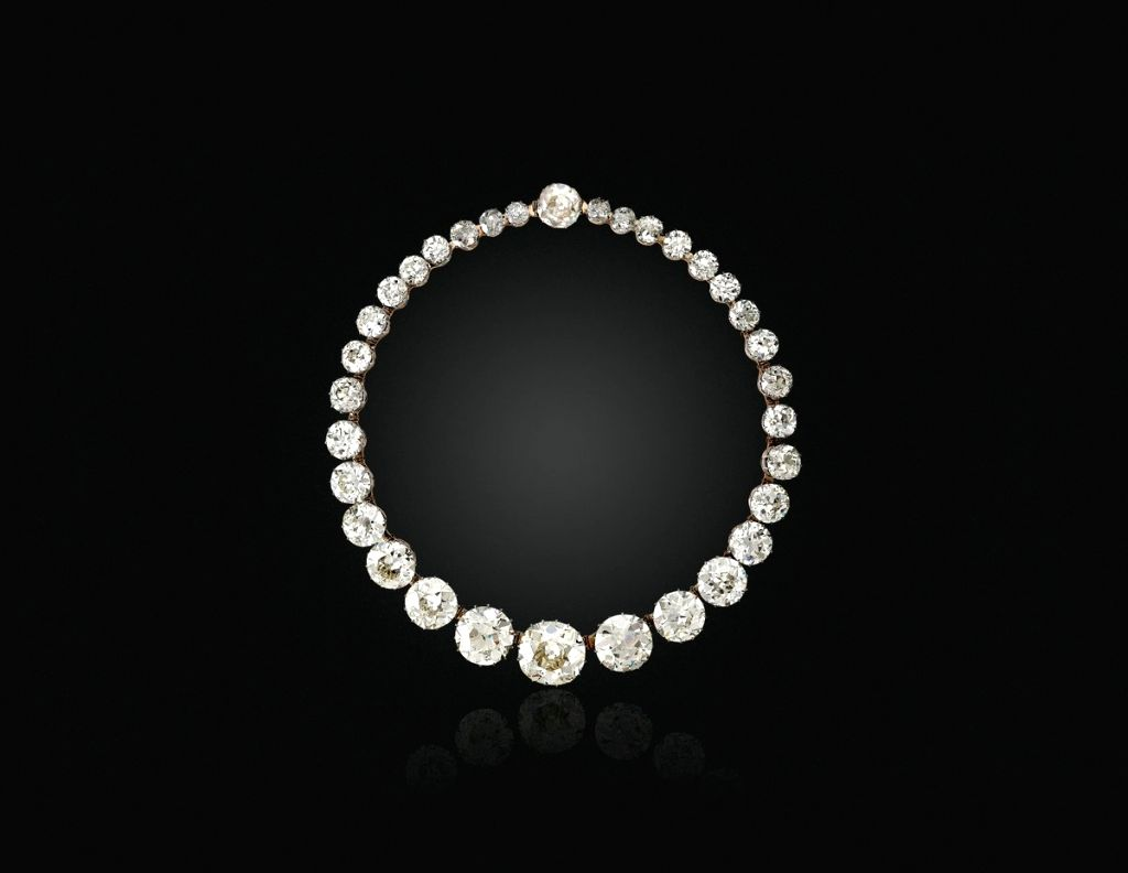 An Antique Diamond Riviere Necklace realized USD 2,415,000. (Source: Christie's/Twitter)
