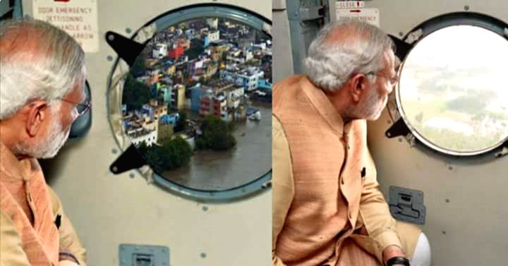 An apparently morphed picture of Prime Minister Narendra Modi conducting an aerial survey of the rain hit area in Chennai (R) that was posted by Press Information Bureau on its twitter handle and ... - Narendra Modi