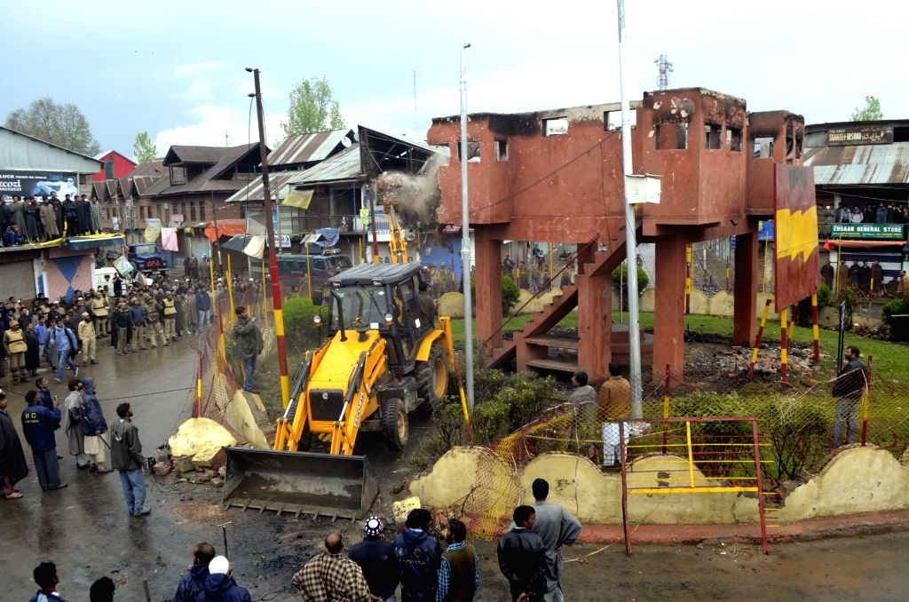 An army bunker being demolished in Handwara of Jammu and Kashmir on April 19, 2016.