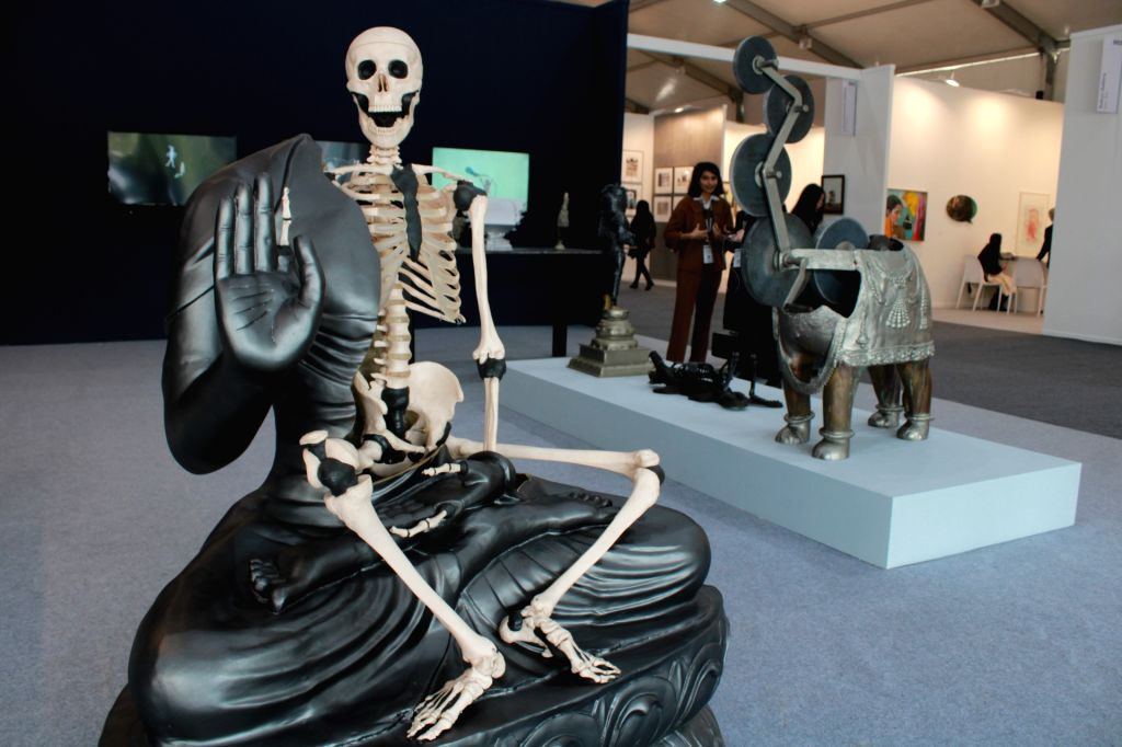 An art work on display at India Art Fair 2019 in New Delhi on Jan 31, 2019.