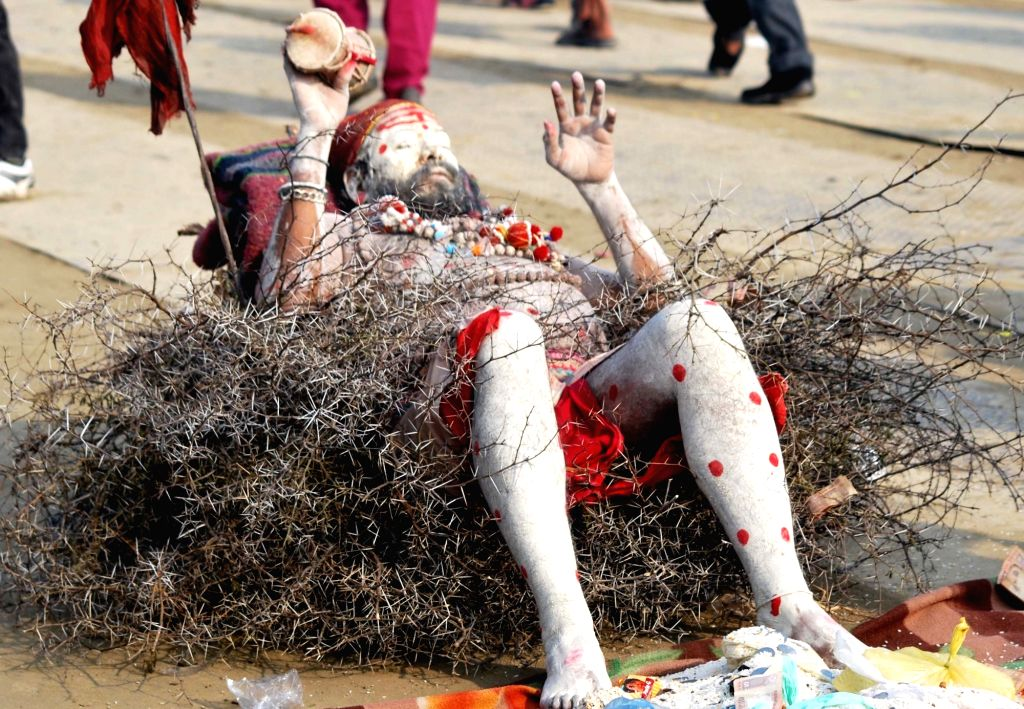 An ascetic lays down on thorns at Sangam on Makar Sankranti in Allahabad, on Jan 15, 2016.