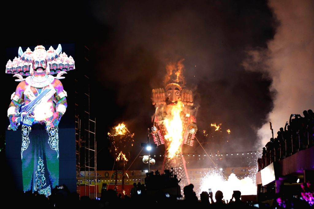 An effiggy of Ravana being burned at Red Fort Ground in New Delhi on Oct 8, 2019.