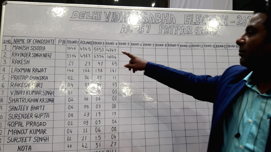 An election official shows a white board with candidate wise vote count written on it at Patparganj counting center as the counting of votes for the Delhi Assembly elections is underway, ...