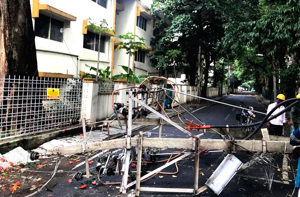 An electric pole that got uprooted last night as heavy grains lashed Bengaluru, on Aug 31, 2020.