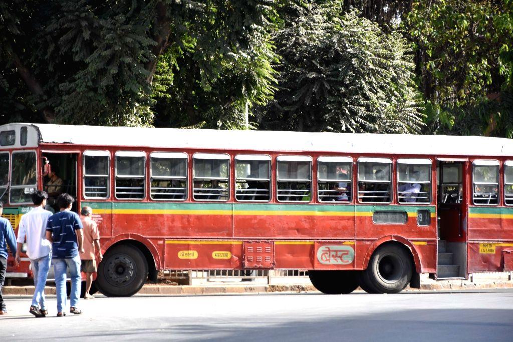 An empty bus amid COVID-19 (coronavirus) scare in Mumbai on March 20, 2020.