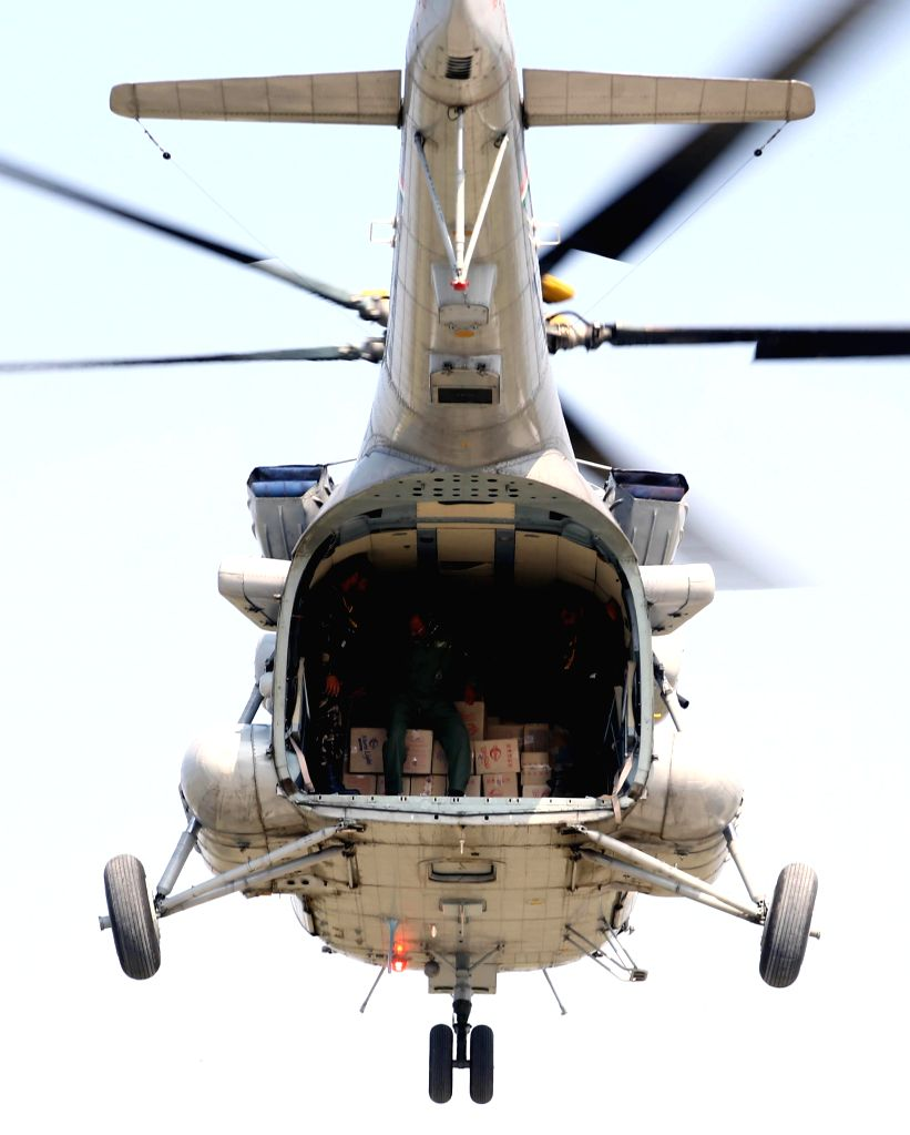 An IAF helicopter engaged in relief operation in flood hit Jammu and Kashmir on Sept 11, 2014.