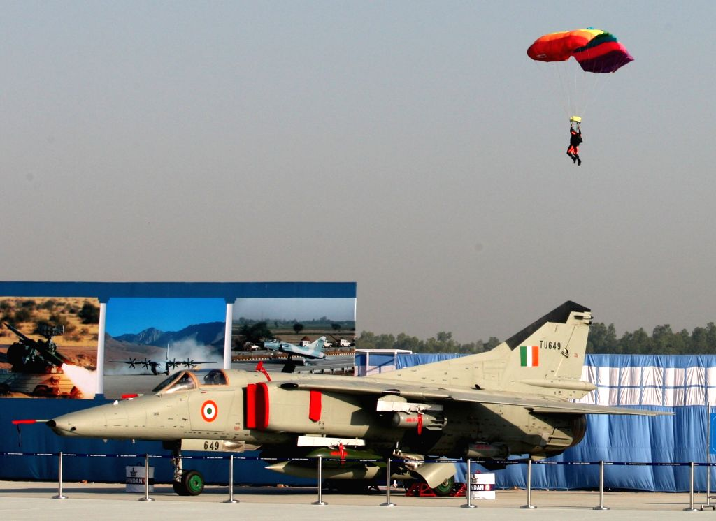 An IAF personnel shows his skills during the 87th anniversary celebrations of the Indian Air Force (IAF) at Hindon Air Force Station in Ghaziabad, on Oct 8, 2019.