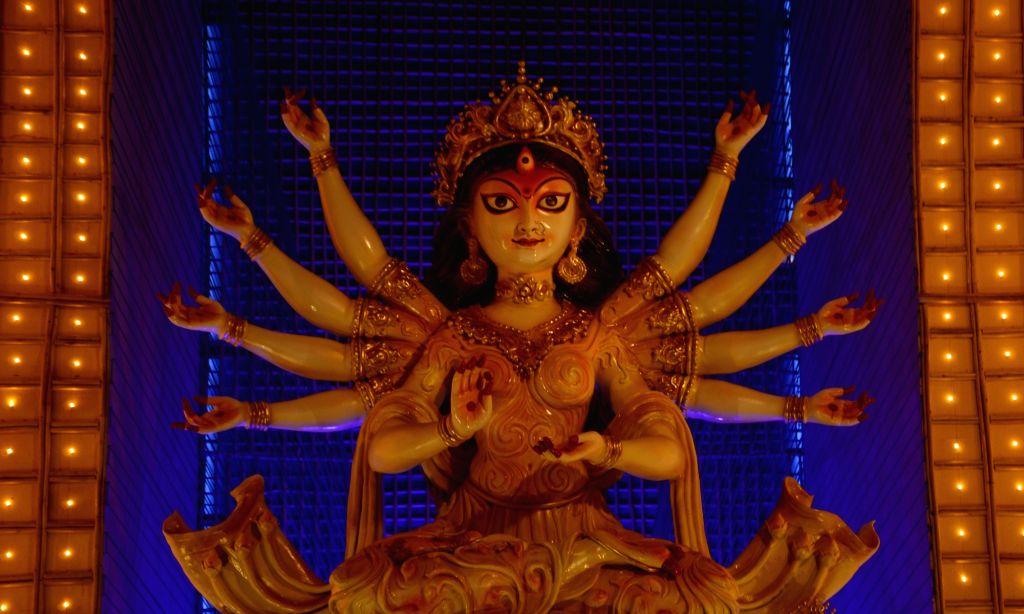 An idol of Goddess Durga at a community puja pandal ahead of Durga Puja celebrations, in Kolkata on Oct 21, 2020.