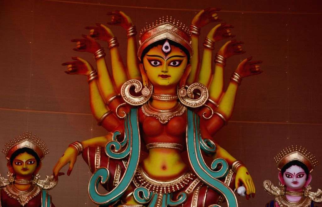 An idol of Goddess Durga at a community puja pandal ahead of Durga Puja celebrations, at Jodhpur Park in Kolkata on Oct 21, 2020.